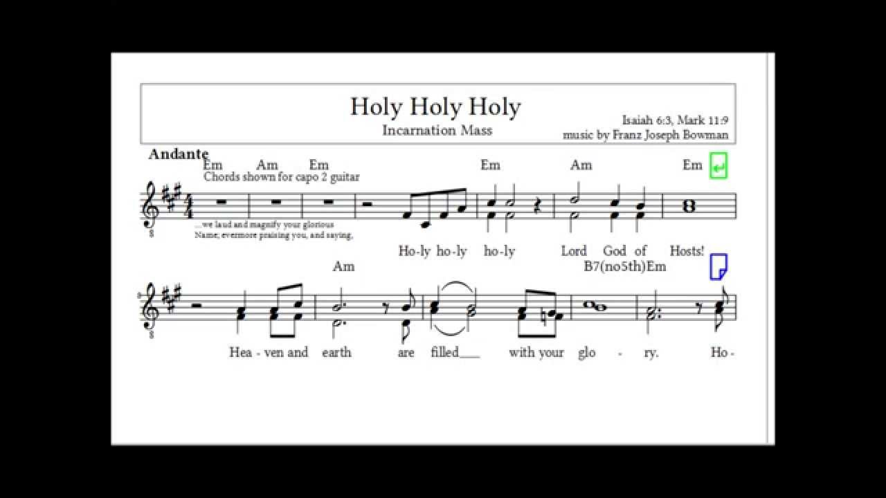 Holy Holy Holy Guitar Only Incarnation Mass Youtube