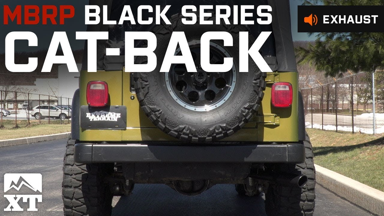 mbrp black series cat back exhaust 00 06 jeep wrangler tj excluding unlimited