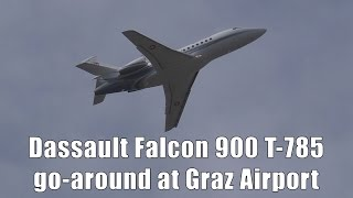 Swiss Air Force Dassault Falcon 900 go-around at Graz Airport | T-785