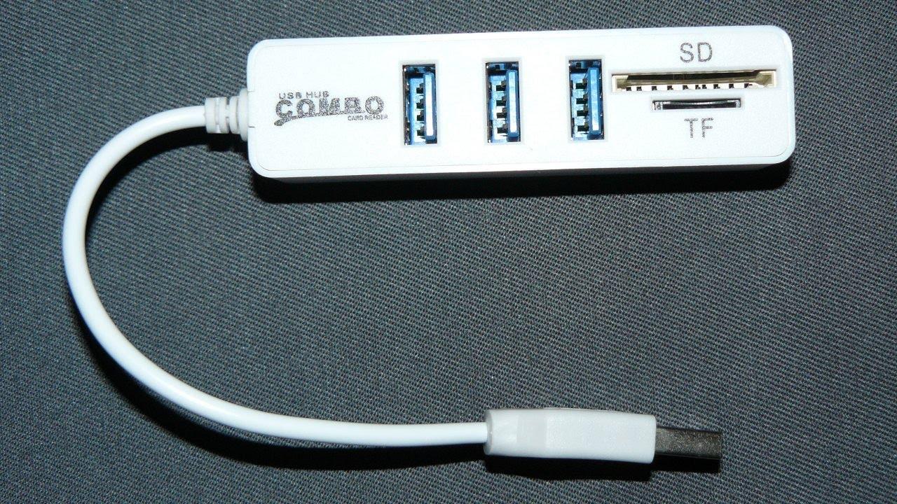 2 в 1 USB хаб и USB картридер SD и microSD карт - YouTube