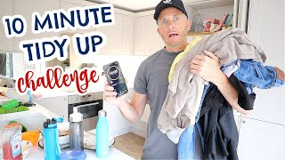 MY HUSBAND TRIES THE 10 MINUTE TIDY UP CHALLENGE |  REAL TIME SPEED CLEAN WITH ME 2020