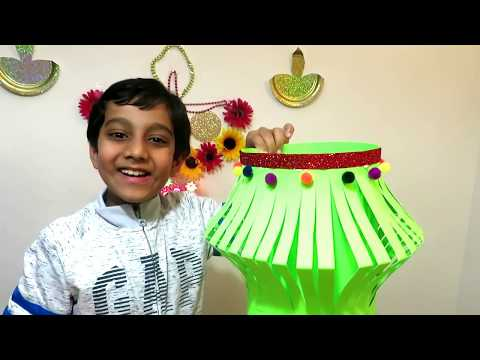 How to make Diwali lantern at home Kandil making craft paper POMPOM balls Colourful SMASHBOX TOYZ