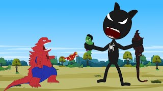 30 MINUTES FUNNY OF SPIDER Godzilla  HULK vs SPIDER CARTOON CAT [HD]  Godzilla Animation Cartoon