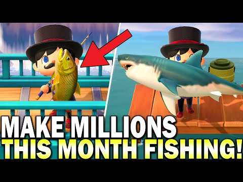 Sharks Are Here! How To Make Millions This Month Fishing! Animal Crossing New Horizons Fish Guide
