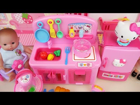 Baby doll and Hello Kitty mini kitchen cooking toys play
