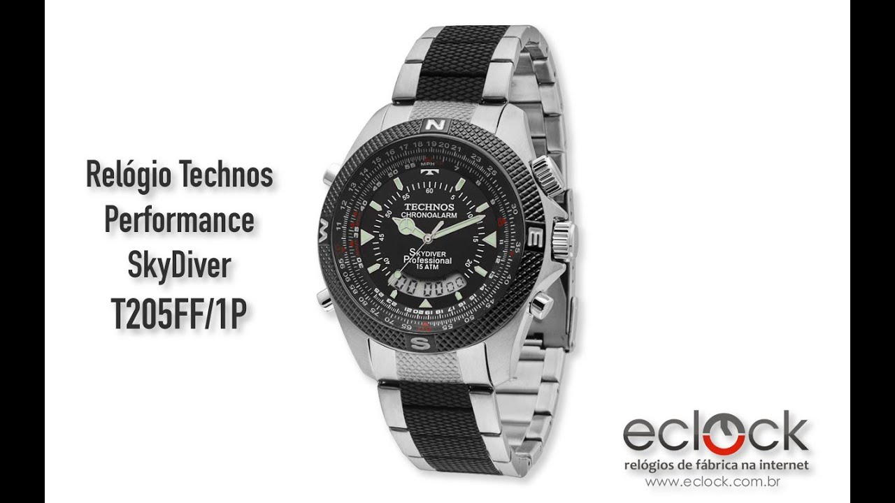 Relógio Technos Masculino Performance SkyDiver T205FF 1P - Eclock ... 96f0efa197