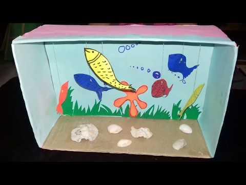 How to make Aquarium/model of aquarium/school project/kids craft/creative ideas/kansalcreation