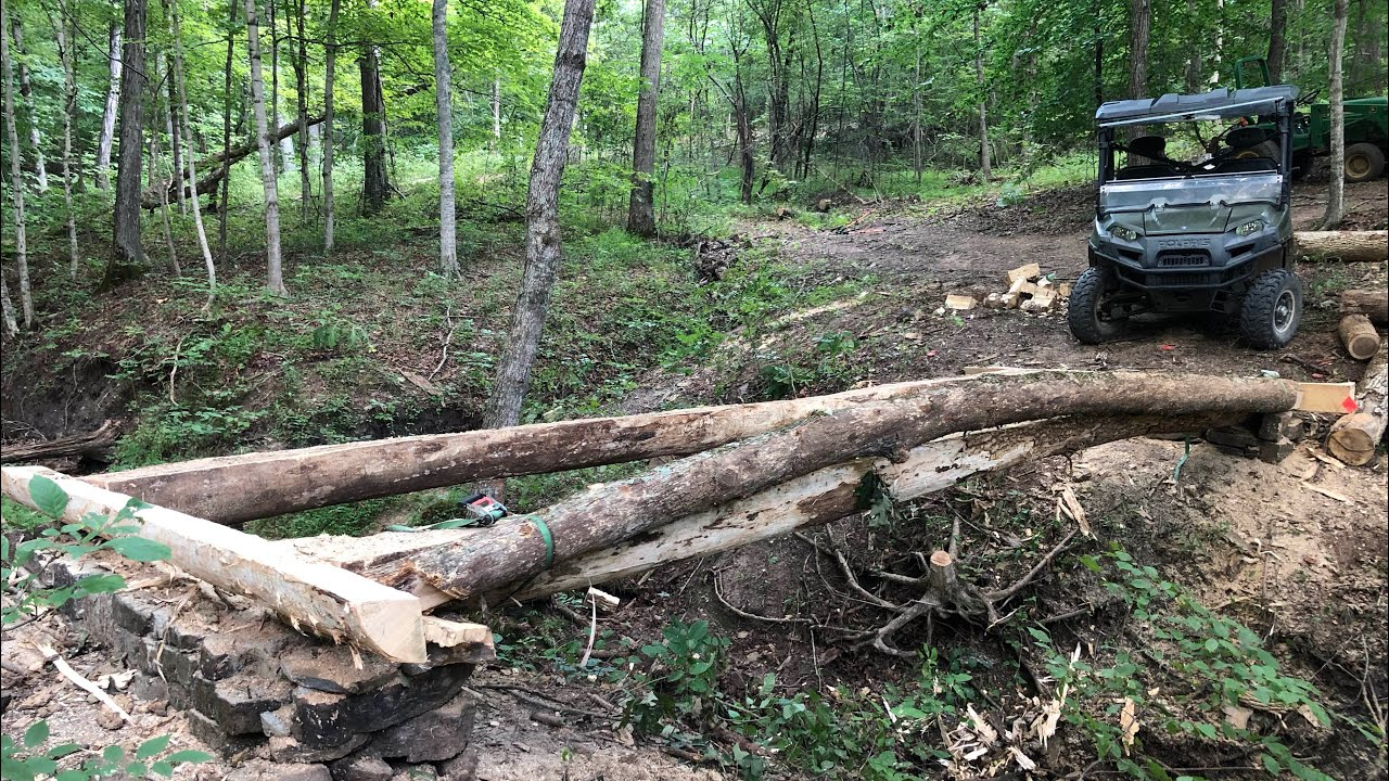Adding Arched Log to Timber Bridge in the Woods - Will it Work?