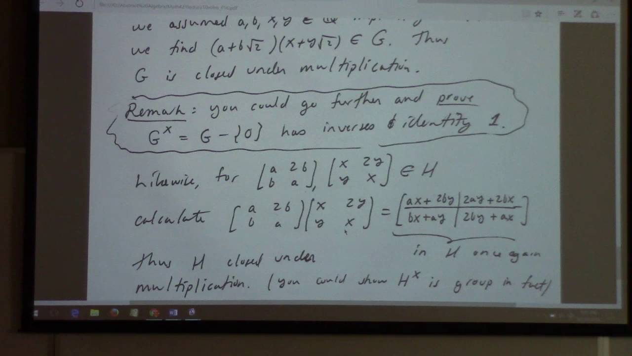 Abstract Algebra: help session, solutions to Lecture 10,11 and 12 ...