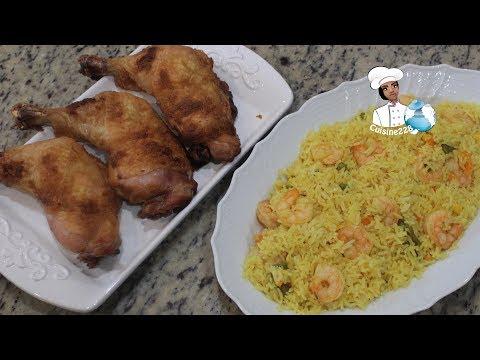 yellow-rice-with-shrimp-and-braised-chicken-||-riz-jaune-avec-crevettes-et-poulet-braisé
