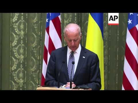 US Vice-President Biden and Ukraine PM Yatsenyuk comment after talks