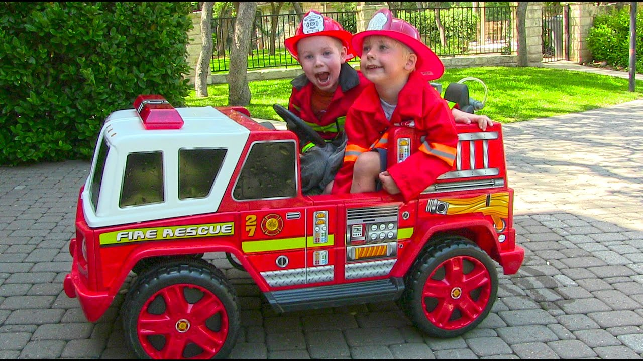 ride on fire engine for kids unboxing review and riding youtube. Black Bedroom Furniture Sets. Home Design Ideas