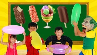 School colors Superman build Spinner Joker blow Ball w/ Spiderman paint Ice Cream & Fish Learn Color