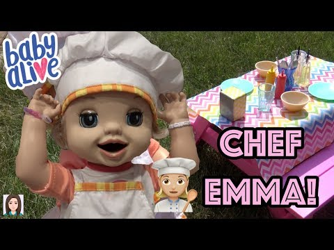 Baby Alive Emma Cooks Special Lunch! Chef Emma's Outdoor Restaurant!
