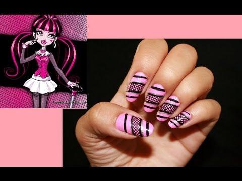 Draculara Monster High Inspired Nail Art Youtube