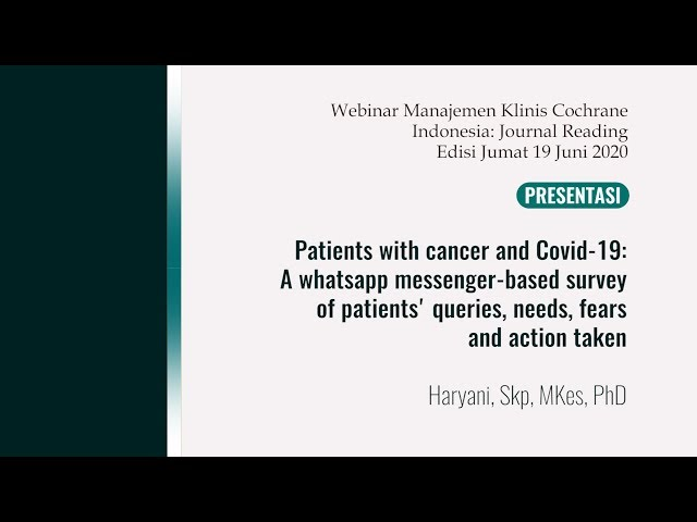 Patients with cancer and Covid-19: A whatsapp messenger-based survey of patients' queries