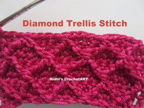How to crochet diamond trellis stitch tutorial youtube how to crochet diamond trellis stitch tutorial dt1010fo