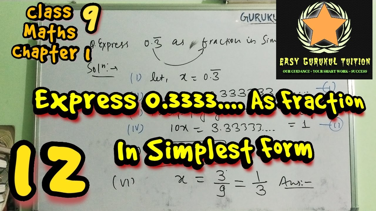 #CBSE class #9TH express #0.3333.... or 0.3 bar as...