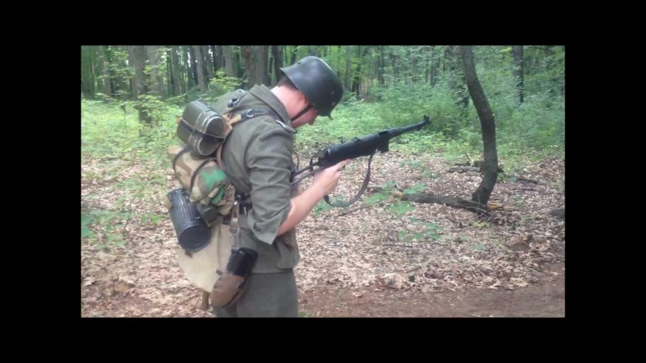 Hd Wwii German Soldier Firing Mp40 Full Auto Shoot