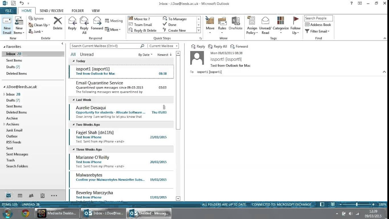 Outlook 2013 and Office 365 setup