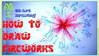 Fireworks Drawing | How to Draw Fireworks 2016 | Diwali Fireworks Drawing 2016 | Diwali Scene Draw
