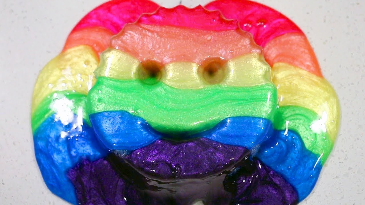 Mixing Satisfying Rainbow Slime with a Crunchy Smiley Face Sponge!