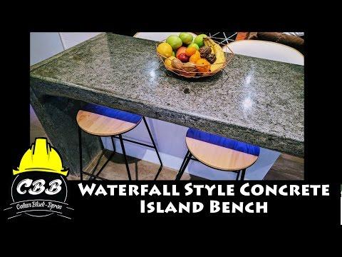 Concrete Waterfall Style Island Bench - DIY Project - Kitchen Renovation