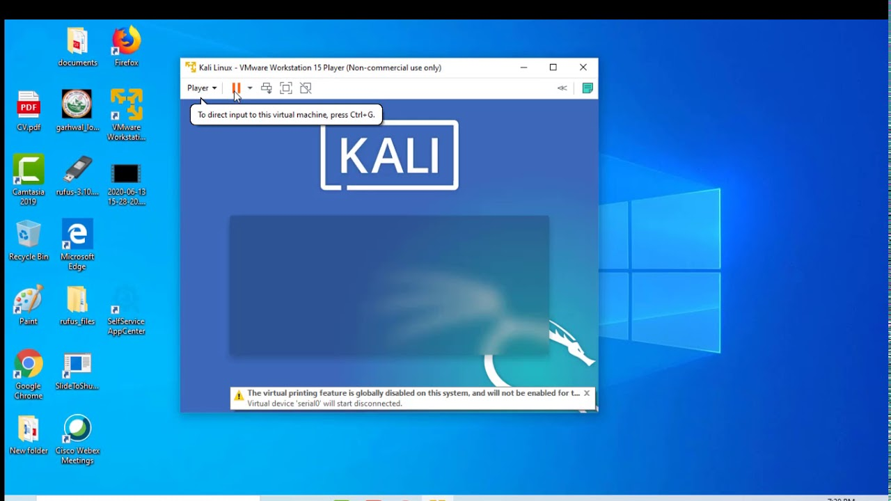 How to Install Kali Linux 2020.2 on Windows 10 with the help of VmWare Workstation. - YouTube