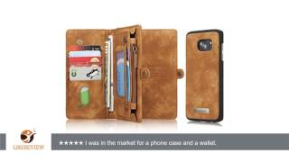 galaxy s7 edge case nervx high quality cowhide leather wallet cover case zipper wallet