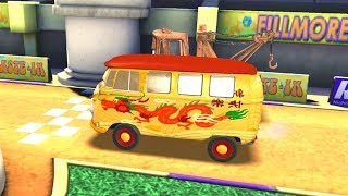 Fillmore The Van Vs Tow Mater & DJ Disney Pixar Cars Racing Game Play
