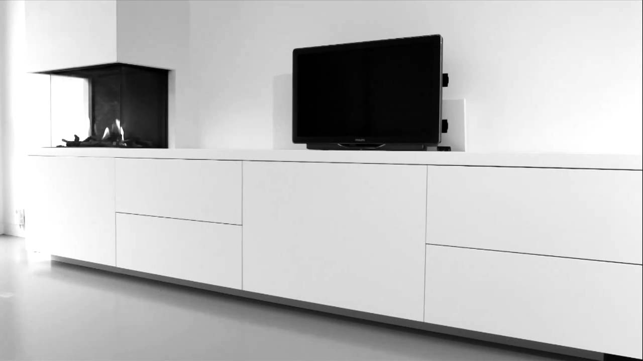 tv meubel dressoir met tv lift en gashaard youtube. Black Bedroom Furniture Sets. Home Design Ideas