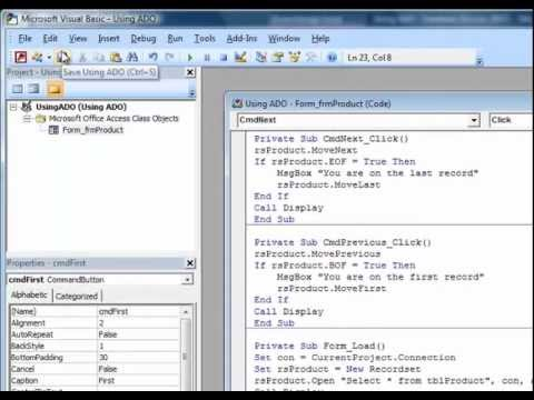 Using ADO to Retrieve Data : Microsoft Access Tutorial