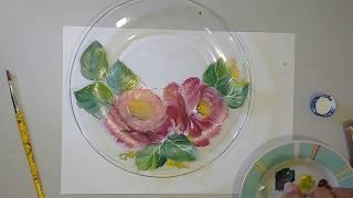 Aprenda a Pintura Rosas em Prato