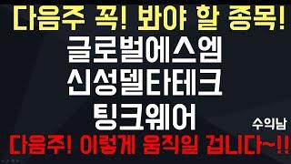 수익남) 글로벌에스엠, 신성델타테크, 팅크웨어