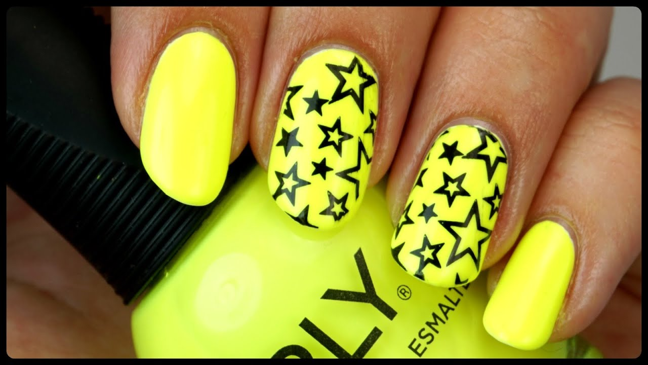 Neon Yellow Star Nails | CCPWM (Chit Chat Polish With Me) - YouTube