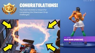 Sautez à travers tous les 6 cerceaux flamboyants fortnite (fr) Get Free Back Board Fishstick Back Bling (fr) Chute du centre-ville