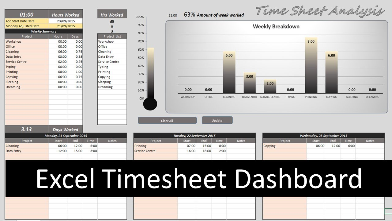 Excel timesheet dashboard youtube alramifo Image collections