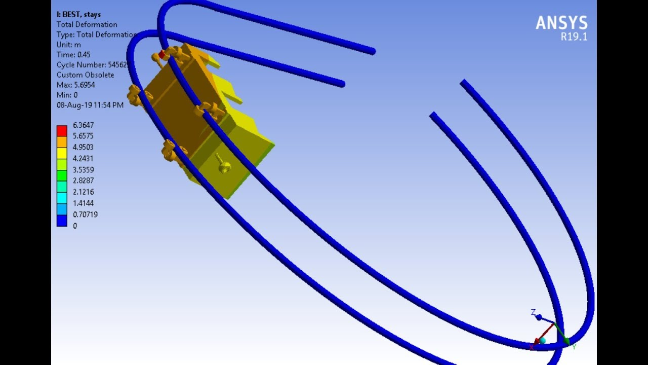 1st in the World!!! ANSYS WB Explicit Dynamics - Roller coaster with  initial speed and self weight