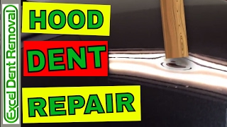 Dent Repair - Before and After - Car Hood Dent Fixed With Paintless Dent Removal