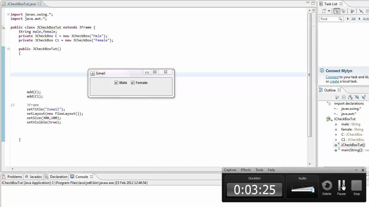 Java Tutorial| GUI | JCheckBox and ItemListener (beginner