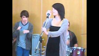 Portsmouth Music Tech students perform Feelin Good in the canteen