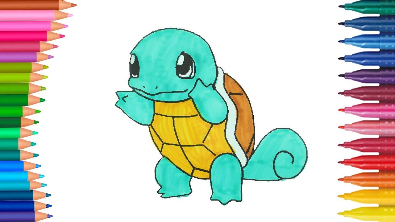 Pokemon Squirtle Per Bambini Come Disegnare E Colorare Piccole