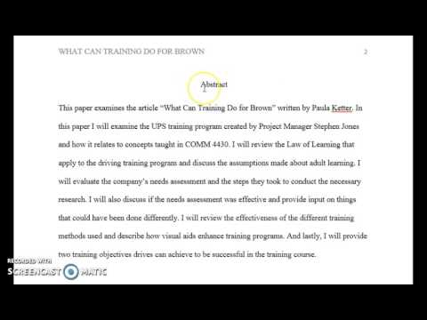 How To Write A Paper Using APA Format