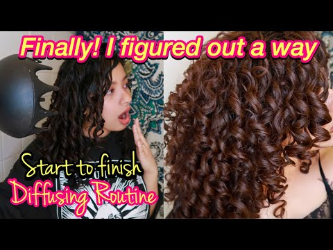 HOW TO DIFFUSE CURLY HAIR WITH NO FRIZZ AND CURL DEFINITION | Styling to Diffusing