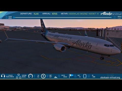 Xplane11: Alaska Airlines AS1380 | Las Vegas to Phoenix | Zibo 737 | HD | VATSIM