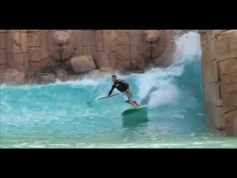 Coreban stand up paddle surfing SUP at Lost City  man made wave pool south africa
