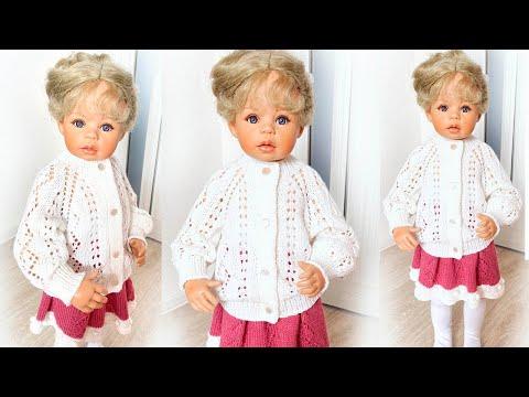 Ажурная кофта для девочки спицами 2 года