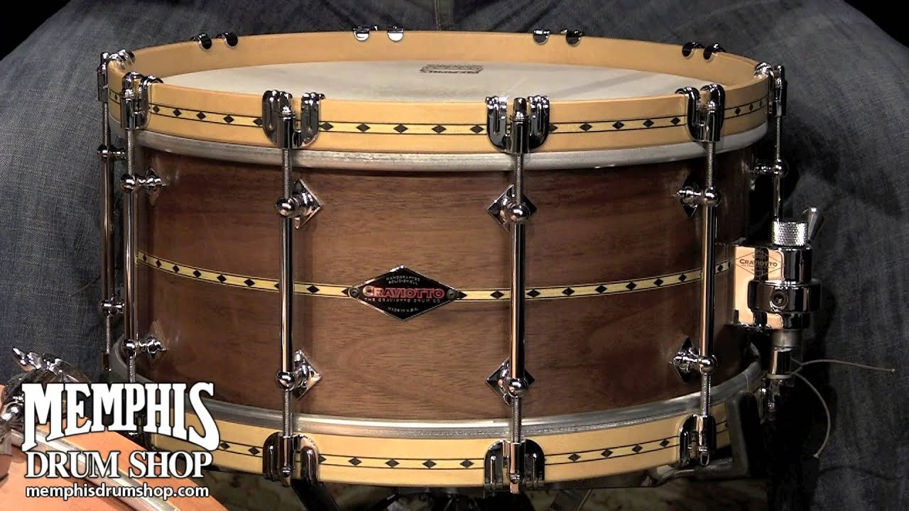craviotto 14 x 6 5 custom shop walnut snare drum w maple inlay wood metal hoops youtube. Black Bedroom Furniture Sets. Home Design Ideas