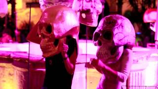 Bigg Head Skulls dancing at La Calaca Day of the Dead Dia de Muertos