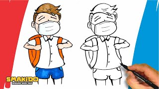 How to Draw a School Boy wearing a Face Mask Easy Drawing Tutorial Step by Step